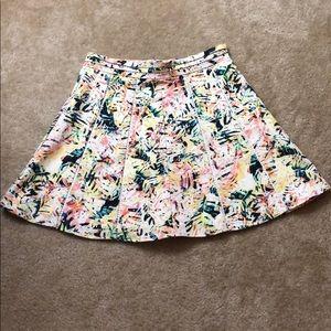 Parker Yellow w Green & Orange Print Mini Skirt